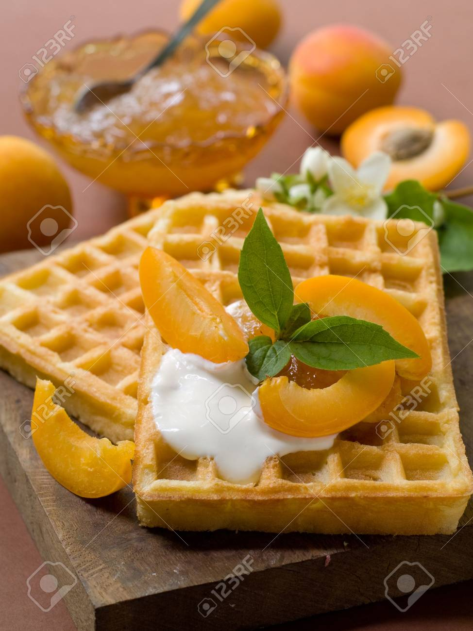 Wafers with apricot jam and cream for a breakfast Stock Photo - 7282437