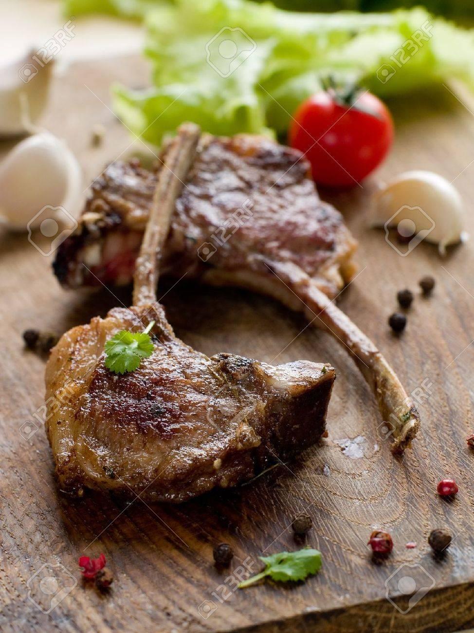close-up of juice roasted lamb chops Stock Photo - 8807493