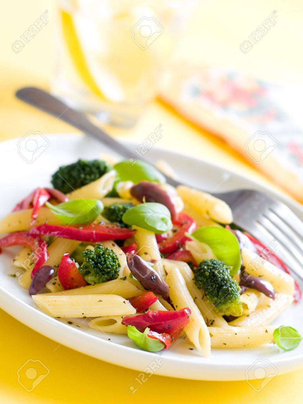 pasta with pepper,broccoli and  olive close up. Selective focus Stock Photo - 9555068