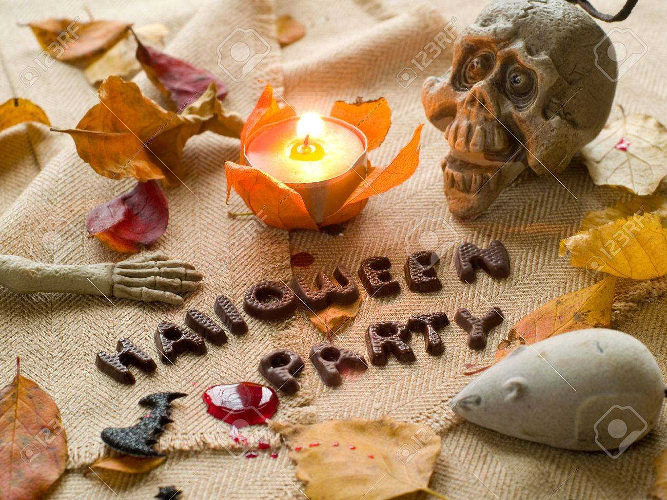 Halloween party text with autumn leaves, skull and mouse. Selective focus Stock Photo - 10278264