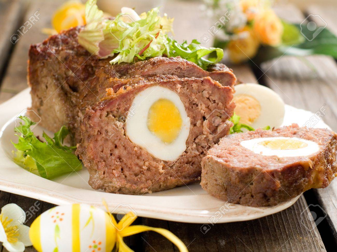 Meatloaf with egg for easter dinner, selective focus Stock Photo - 17331144
