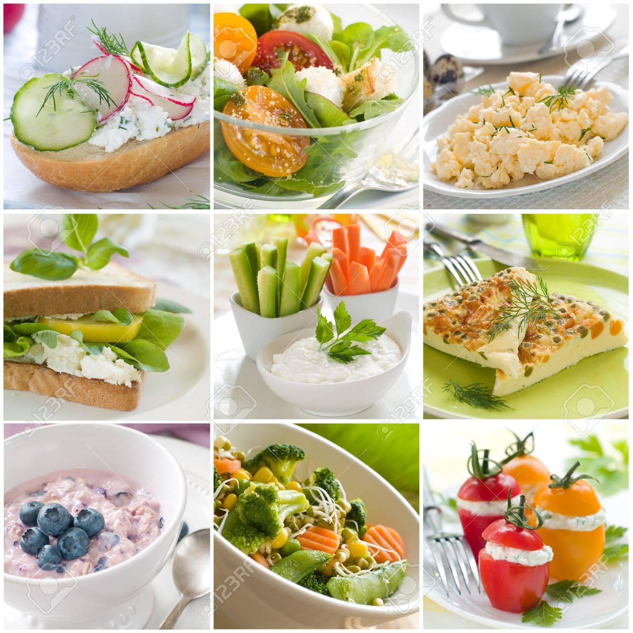 Collage of different healthy breakfast photos - 17742514