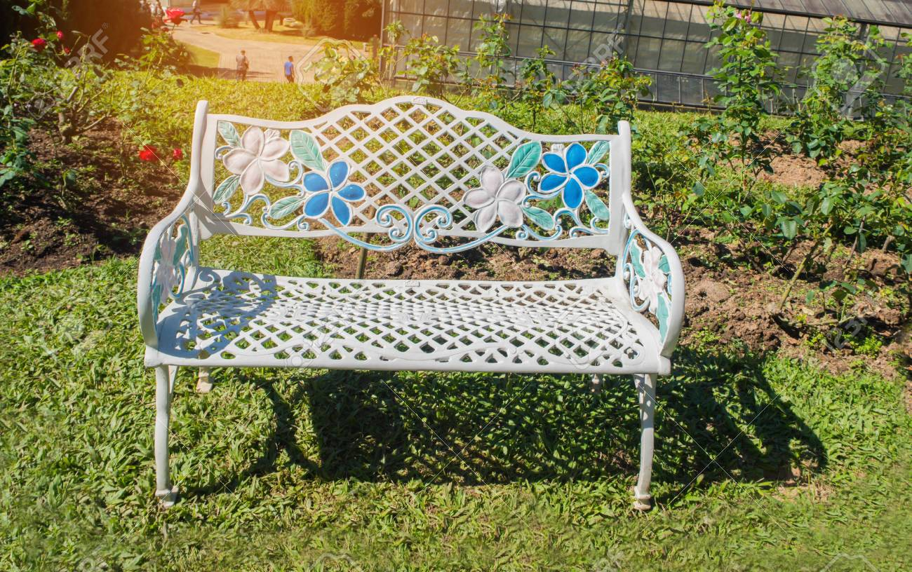 Remarkable Metal Garden Chair In The Garden White Bench In The Rose Garden Ncnpc Chair Design For Home Ncnpcorg