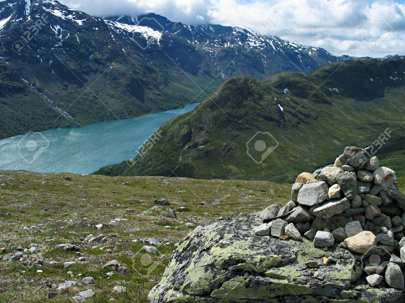cairn on tourist path among beautiful norwegian nature Stock Photo - 354105