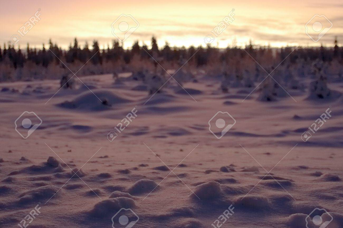 sharp snow in the foreground and the dim sunset landscape on a background Stock Photo - 356992