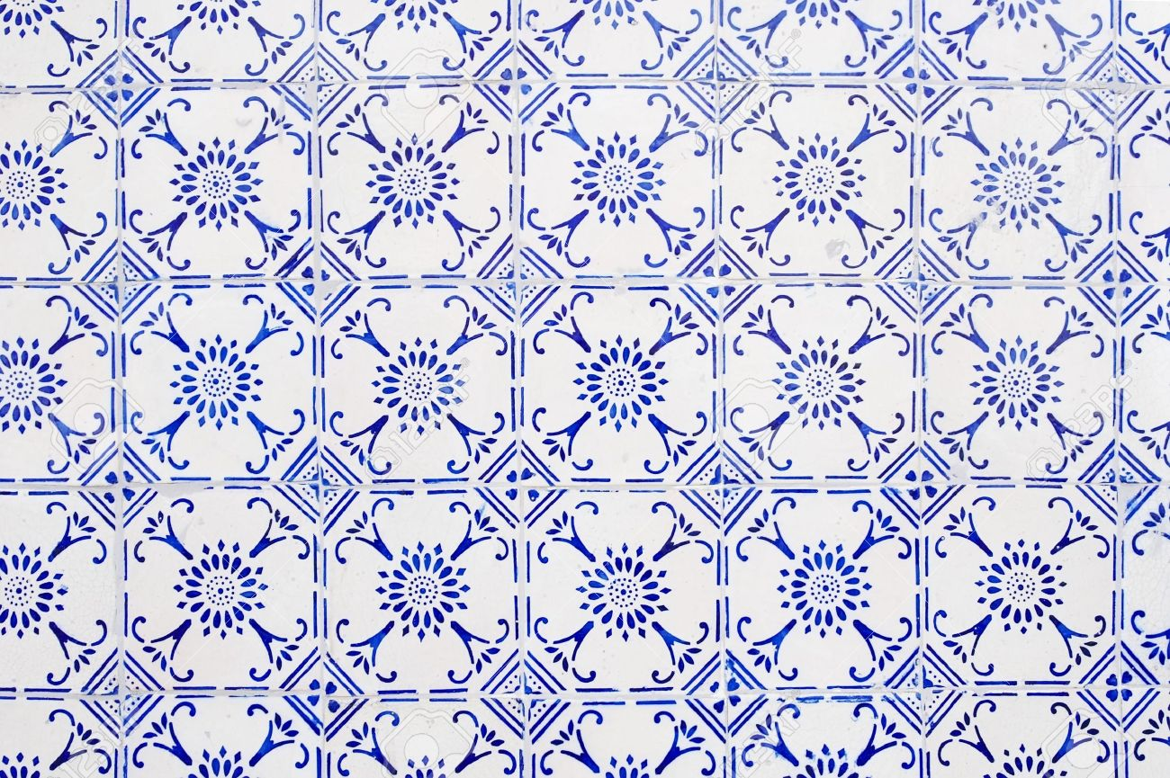 Glazed Tiles With Blue And White Simple Pattern Stock Photo ...