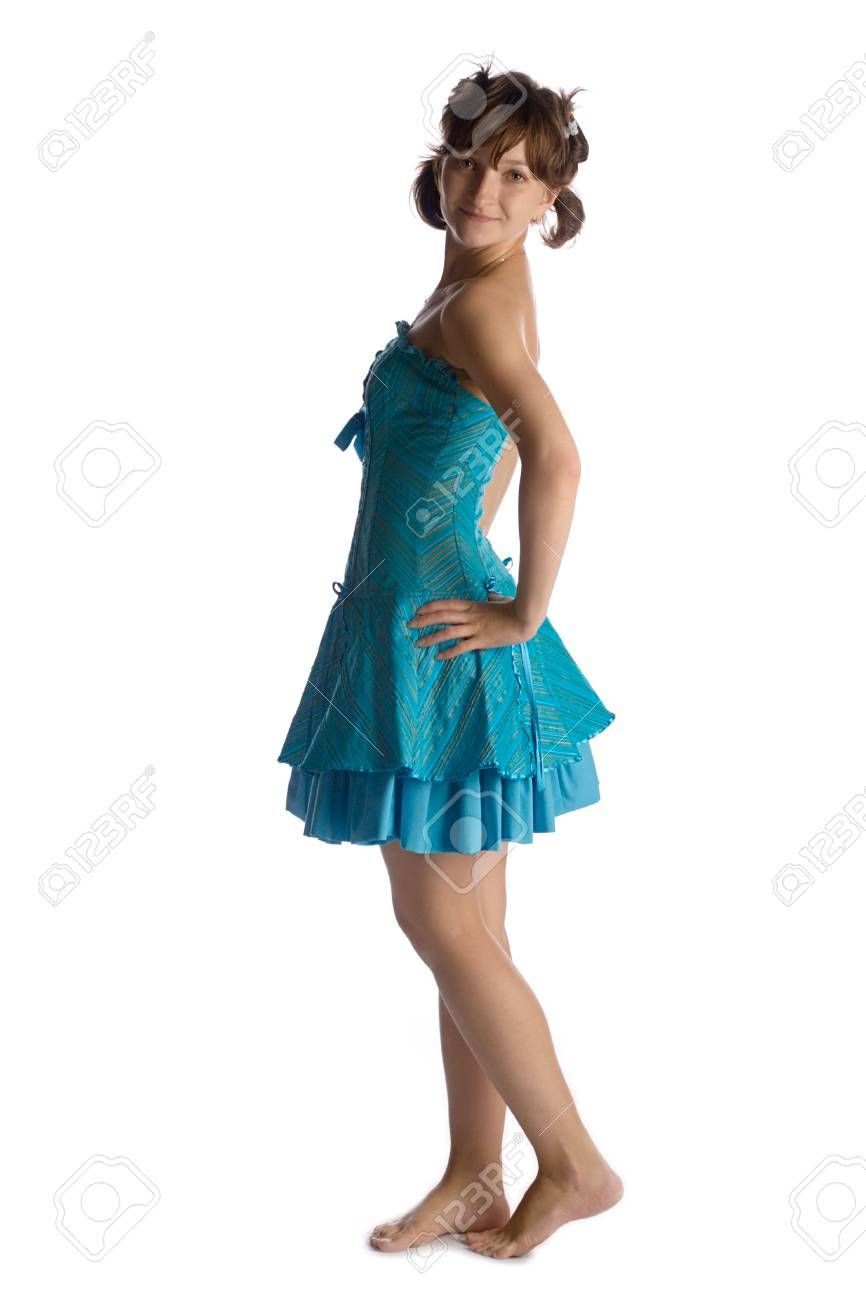 young playful girl in funny short blue dress in child style, isolated on white Stock Photo - 1990146