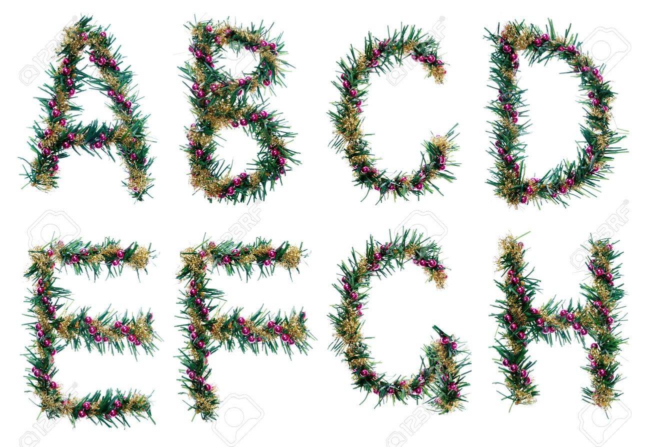 Decorative Letters Christmas Decorative Alphabet Letters Fir Branches Red Balls