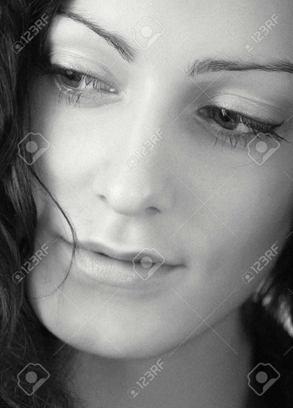 close-up portrait of young woman over white Stock Photo - 2995852