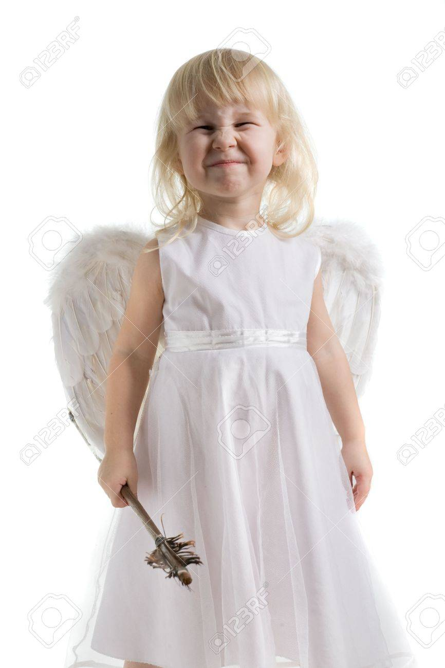 little girl with Cupid arrow in hand in white dress and angel wings Stock Photo - 3058508