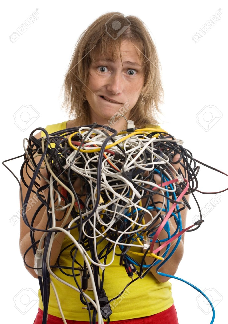 Crazy Woman With Tangle Of Cables And Wires In Hands Isolated Electrical Wiring On White Stock Photo