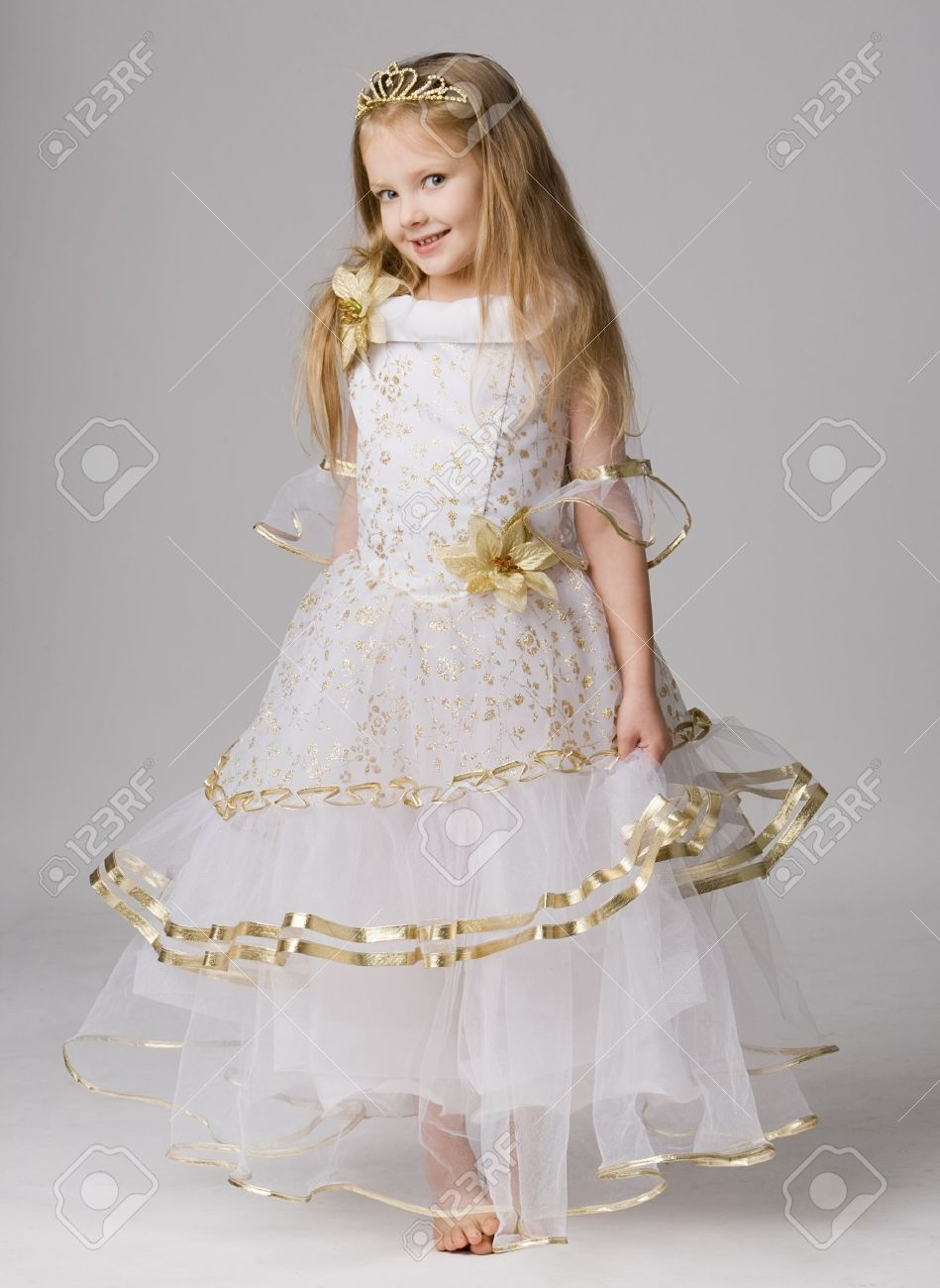 Beautiful Little Girl In Princess Dress With Long Hair Barefoot