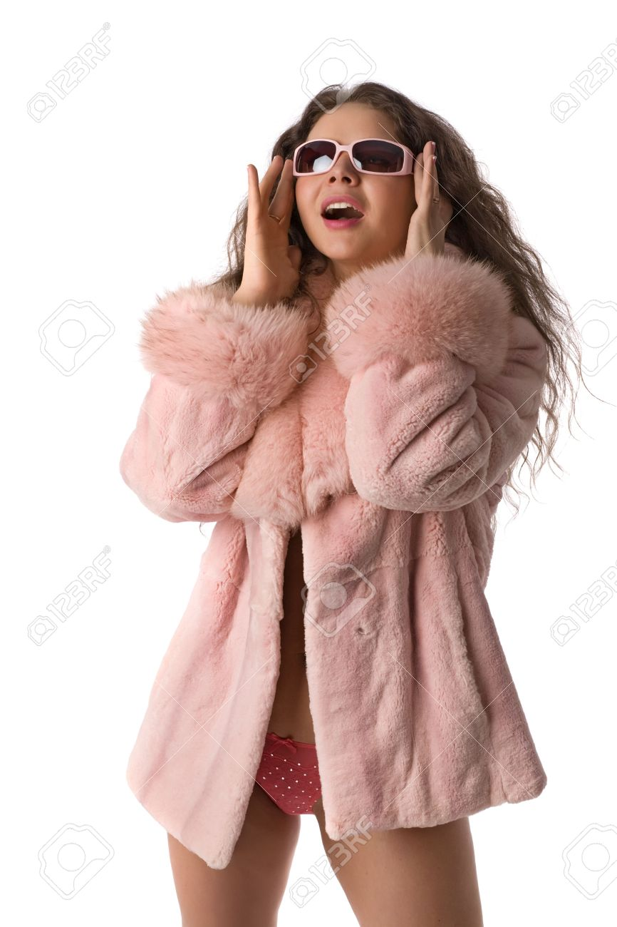 Laughing Long-haired Girl In A Pink Fur Coat And In Pink Sun
