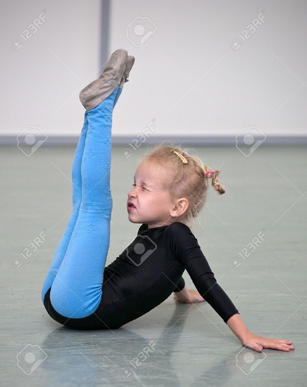 little gymnast girl in gym Stock Photo - 7916340