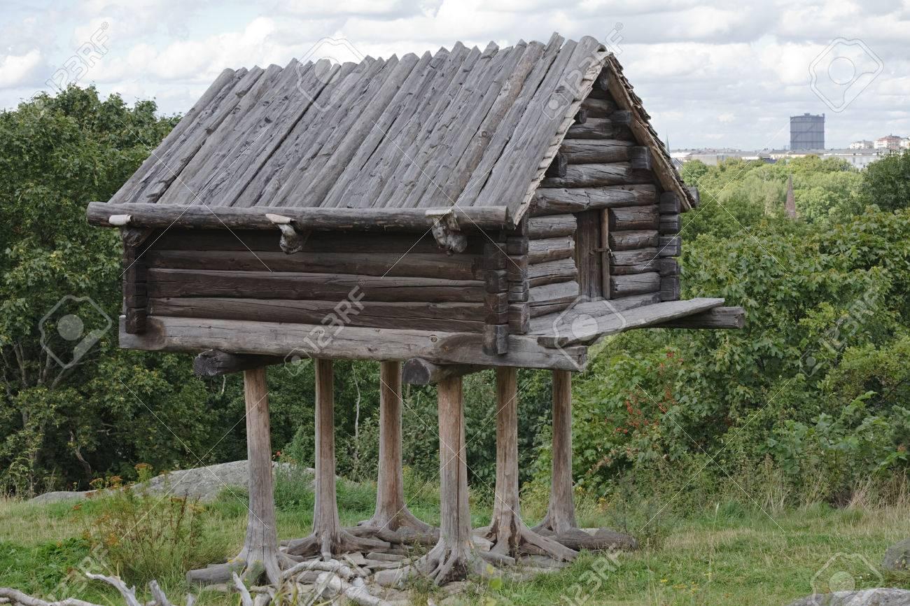 Small Wooden Fairy Hut On Chicken Legs, Skansen Park, Stockholm , Sweden  Stock Photo