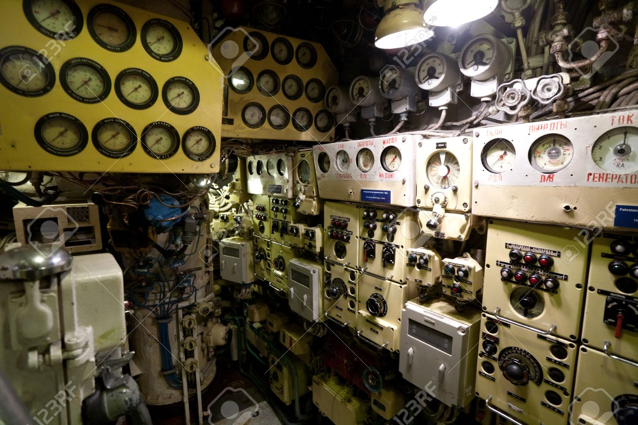 Russian Submarine Interior Of Deck Cabin Wirh Devices And Technical  Equipment Stock Photo   29401575