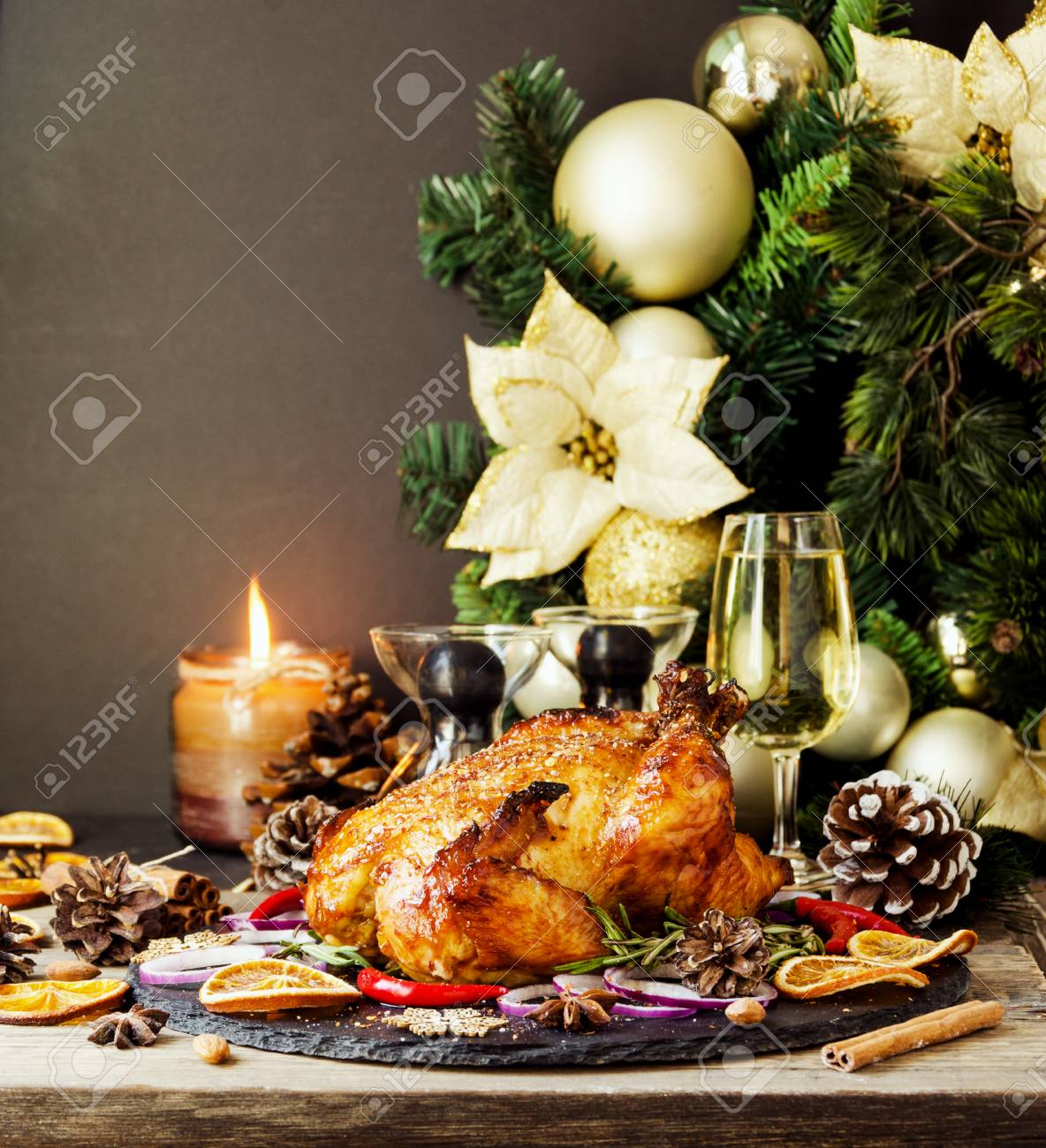 Roast Chicken Or Turkey For Christmas And New Year Thanksgiving