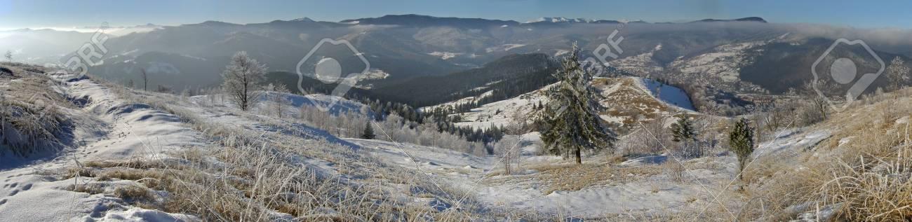 Winter panoram of mountain ridghe (Jaremcha resort outskirts, Ukrainine, Carpathian Mt's) Stock Photo - 608604
