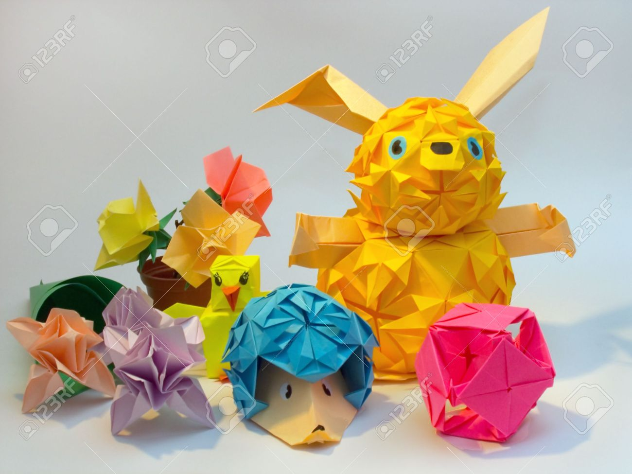 Composition of origami figures hare hedgehog flower ball stock composition of origami figures hare hedgehog flower ball stock photo mightylinksfo