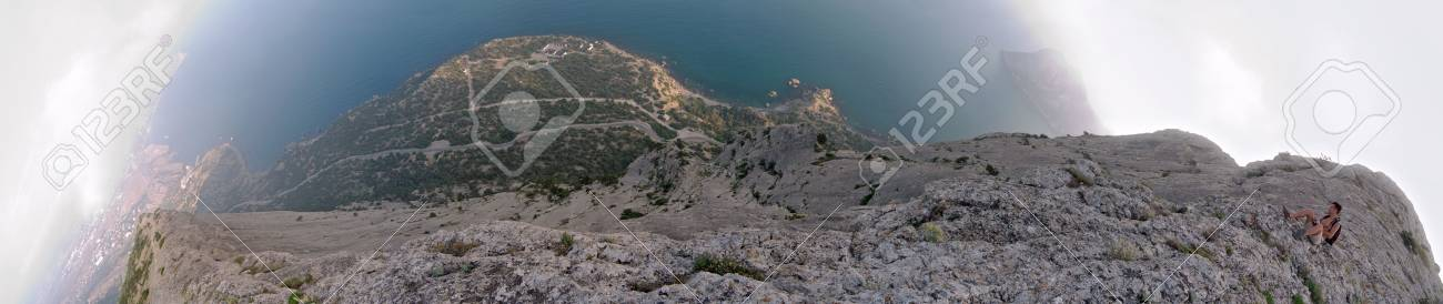 Five shots 180 degrees panorama from top of rock in vertical down direction Stock Photo - 1195209