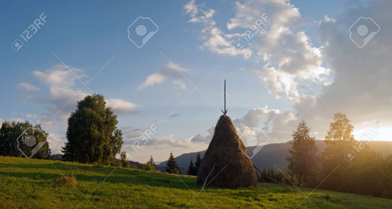 Sunset on summer mountainous green meadow with stack of hay (Slavske village, Carpathian Mts, Ukraine). Five shots composite picture. Stock Photo - 1930514
