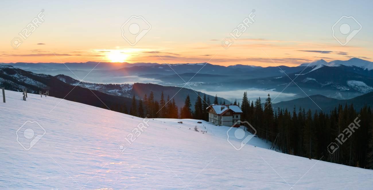 Mountain ridge sunrise panorama view  (Drahobrat Ski Resort, Yasenja village, Zacarpatsjka Region, Carpathian Mt's, Ukraine). Seven shots stitch image. Stock Photo - 2863031