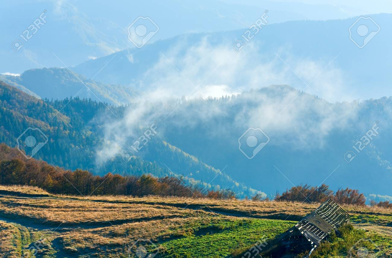 Morning misty autumn mountain landscape (Carpathian, Ukraine) Stock Photo - 13598853