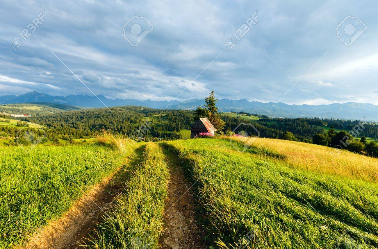 Summer evening mountain village outskirts with country road in front and Tatra range behind (Gliczarow Gorny, Poland) Stock Photo - 15333038