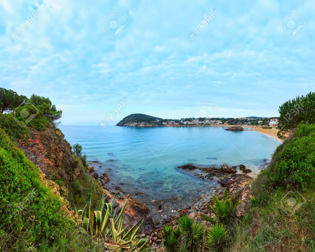 La Fosca Beach Summer Morning Landscape Palamos Girona Costa
