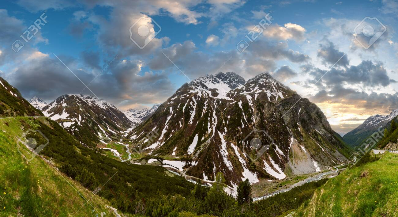 Summer Alps mountain sunset landscape with alpine road and river, Fluela Pass, Switzerland - 121462418