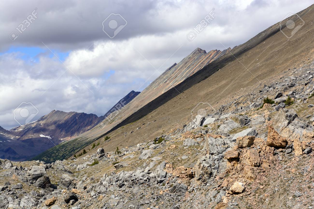 The Endless Chain Ridge from Nigel Pass in the Canadian Rockies Stock Photo - 29338113