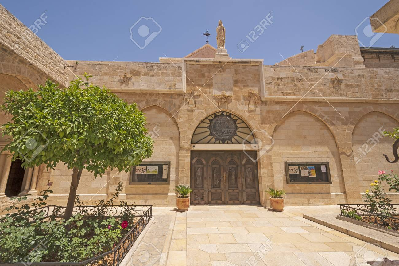 Outside of the Catholic Church Nativity in Bethlehem, West Bank, Palestine, Of The In Bethlehem,.. Stock