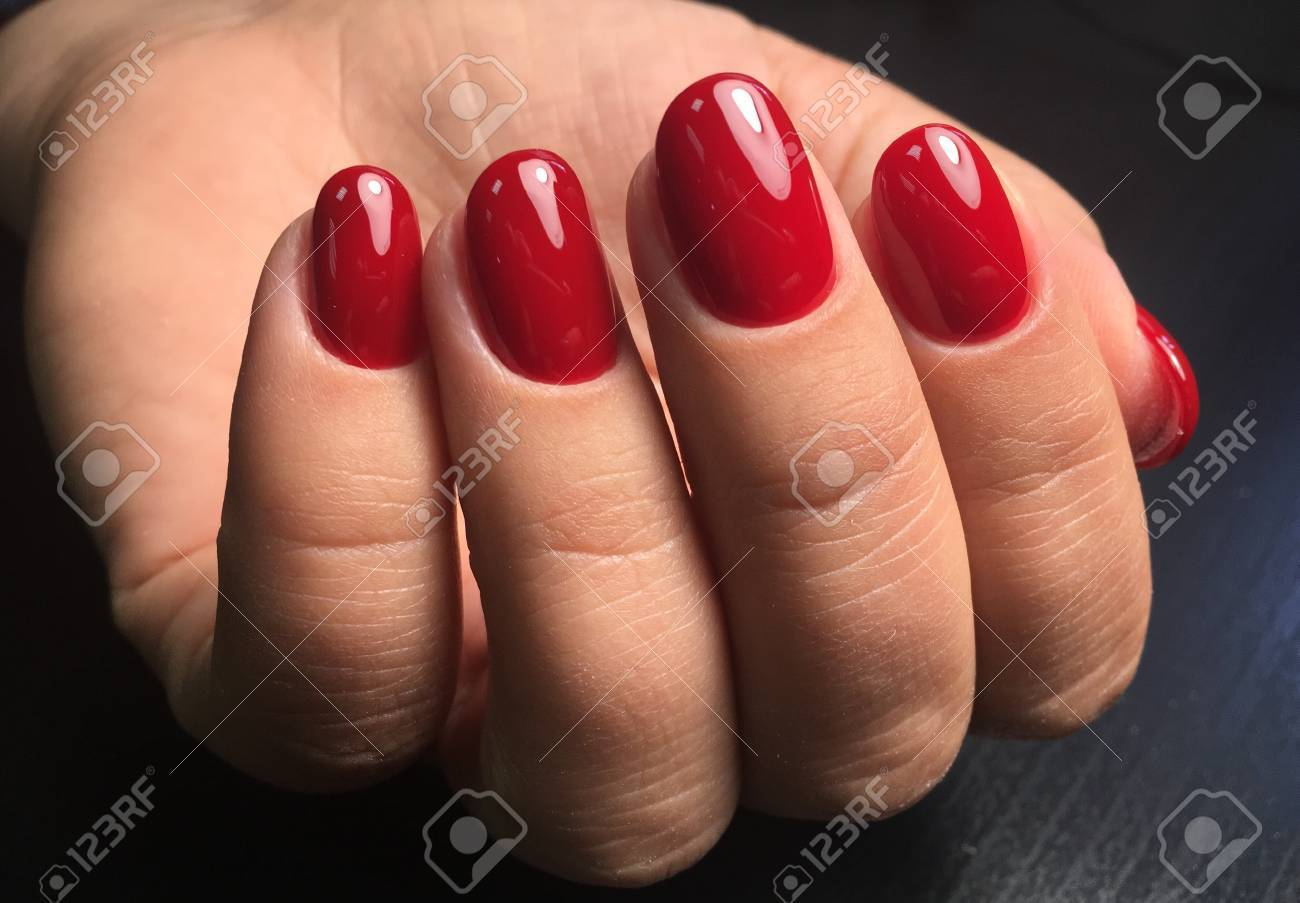 Dark Red Nails Gel Polish Manicure Stock Photo, Picture And Royalty ...