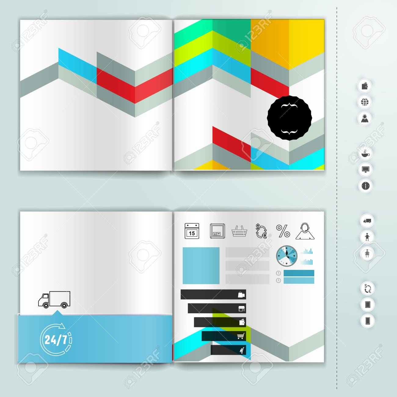 corporate booklet promotion template with color elements vector