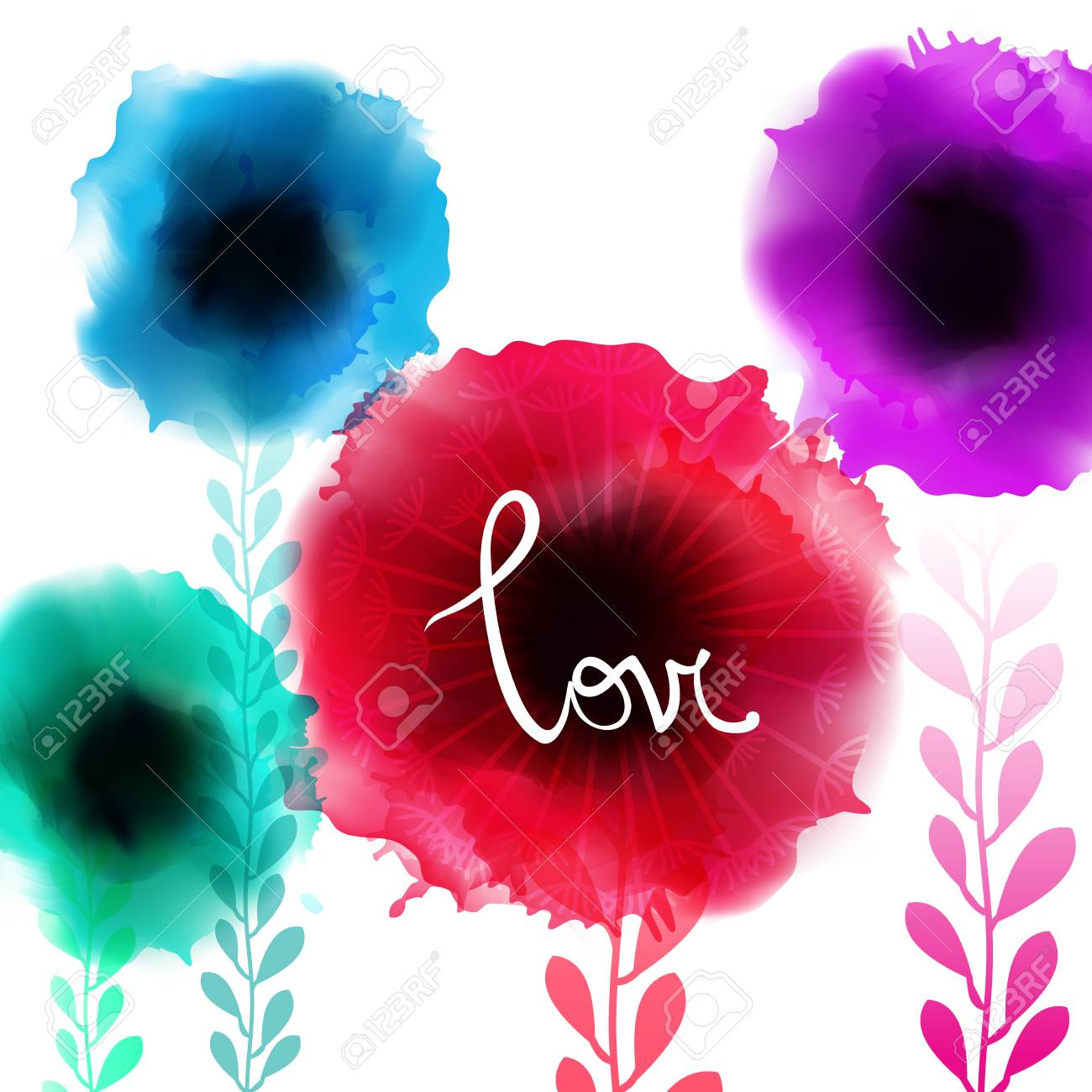 Watercolor Romantic Blooming Poppy Flowers Isolated Vector