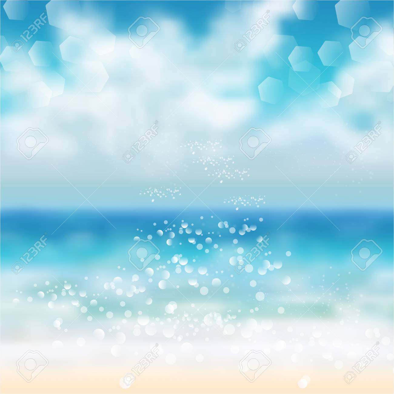 spring and summer watercolor ocean background with shining sparks