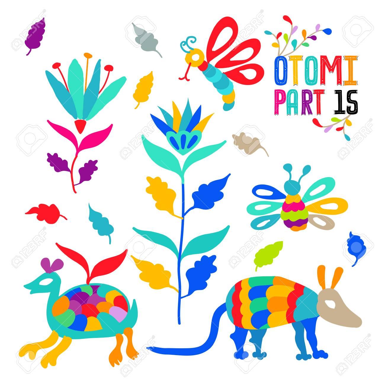 Conjunto Del Patrón Del Bordado Del Estilo De Otomi Mexicano Popular ...