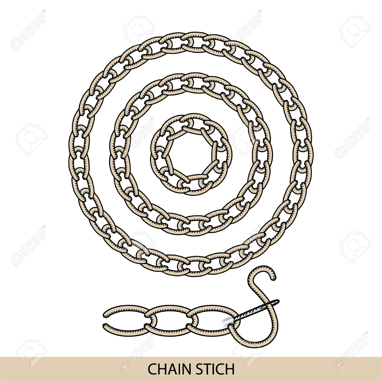 Stitches Chain Type Vector Collection Of Thread Hand Embroidery