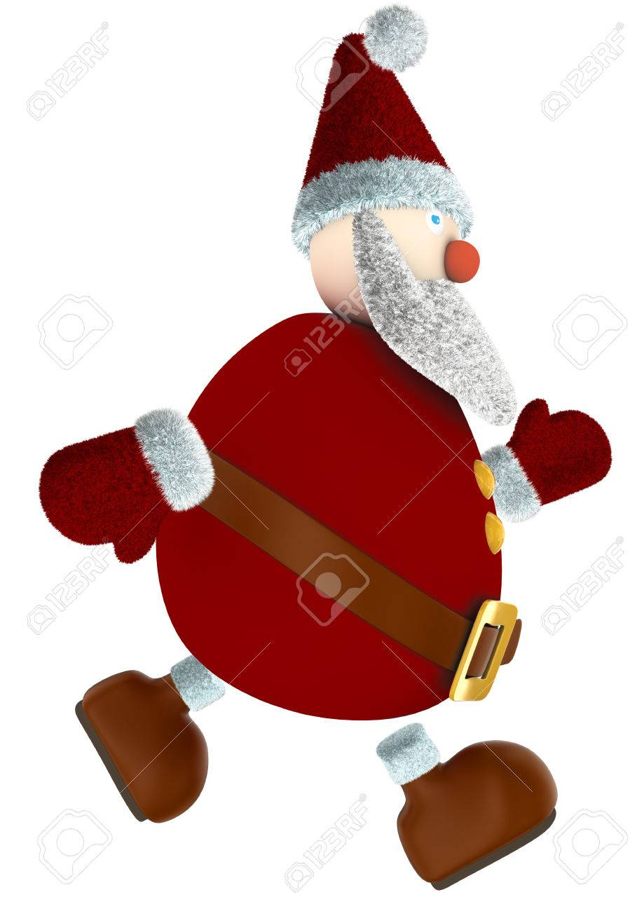 running 3D Santa Claus isolated on white Stock Photo - 34194971
