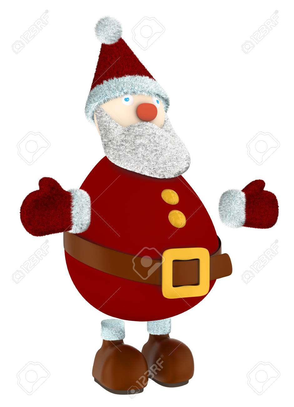 standing 3D Santa Claus isolated on white Stock Photo - 34194428