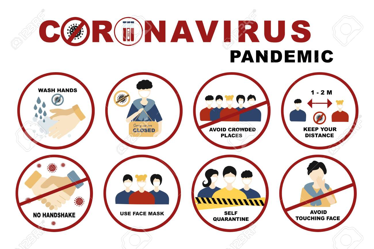 Coronavirus, covid-19 sign set No handshake and wash hands, Self quarantine and avoid crowded places, use face mask and keep distance concept. Signs with people on the subject coronavirus - 143488905