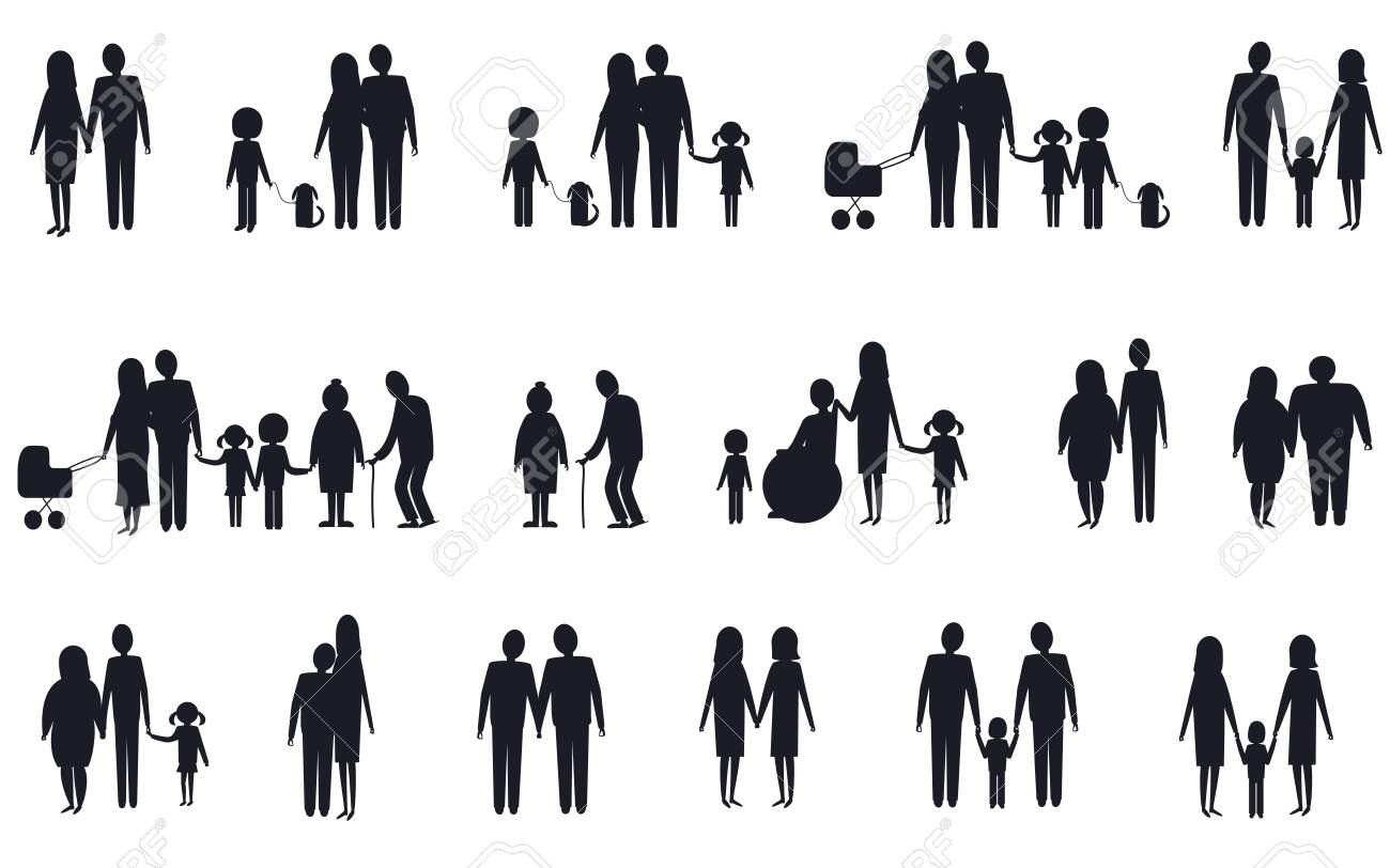 A set of silhouettes of various family types. Vector isolated image on a white background. - 150920144