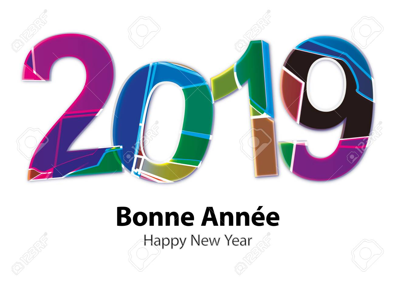 greeting card happy new year 2019 stock vector 80632169