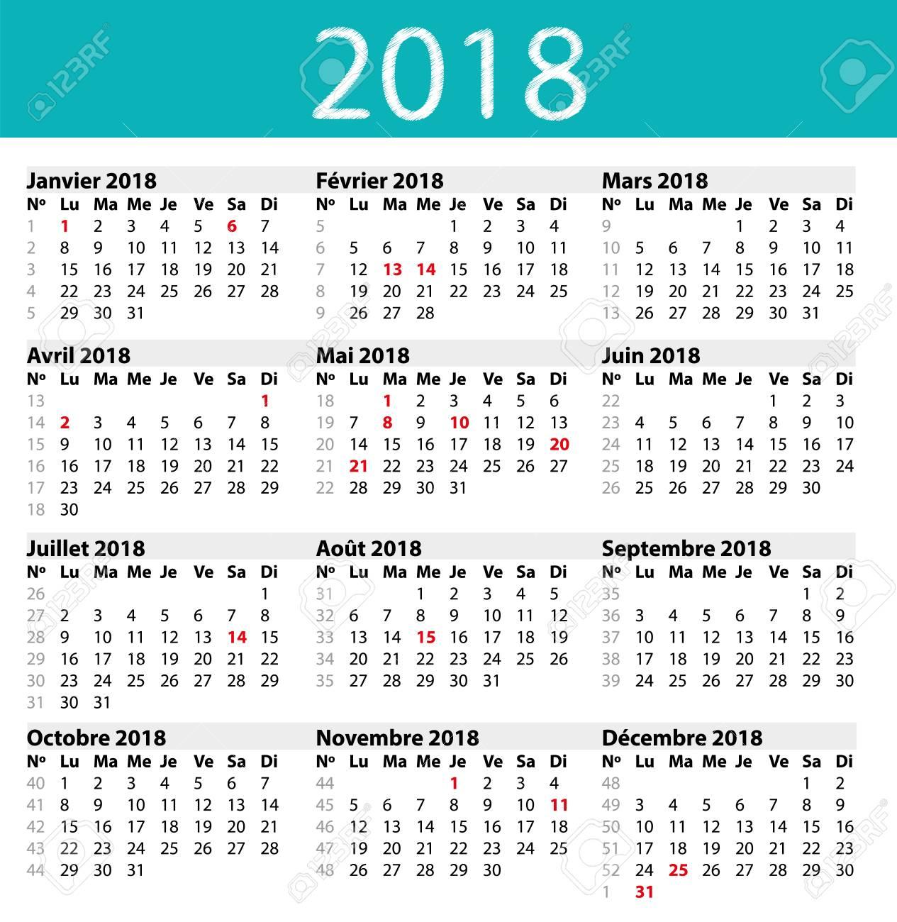 simple calendar 2018 stock vector 83587026