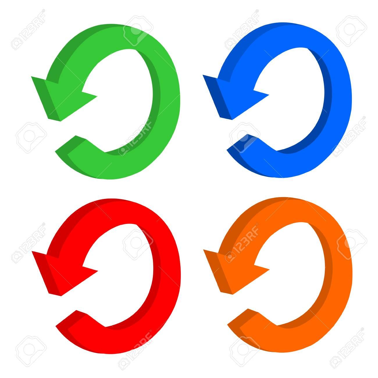3D set arrow circular or recycling Stock Vector - 18111431