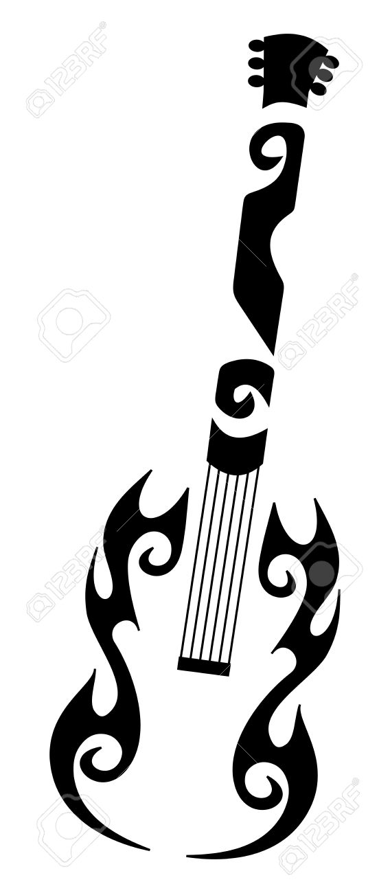 Tribal Tattoo Of A Guitar Royalty Free Cliparts Vectors And Stock