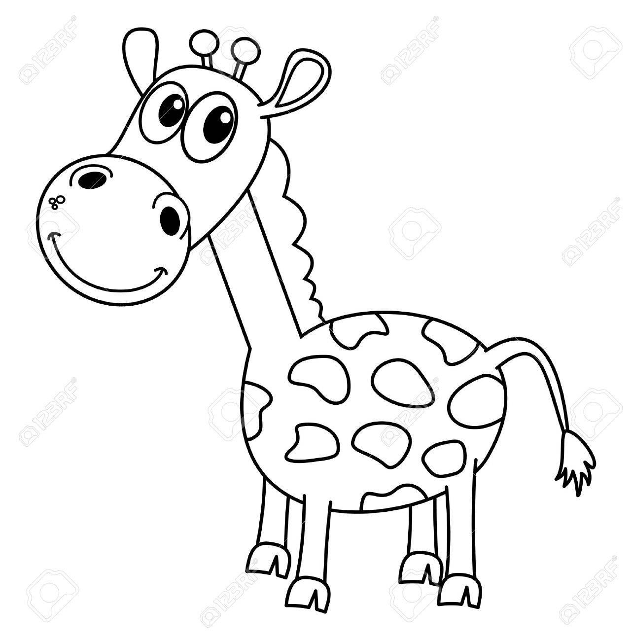 Lächelnd Schwarze Giraffen Zur Einfärbung Lizenzfrei Nutzbare