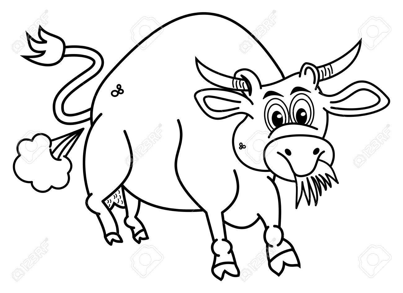 Ein Bio Stier Für Färbung, Die Gras Isst Lizenzfrei Nutzbare