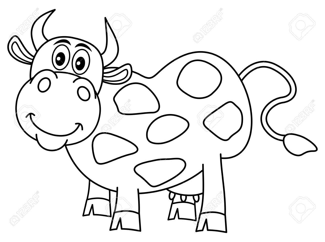 Smiling Huge Cow For Coloring Royalty Free Cliparts, Vectors, And ...