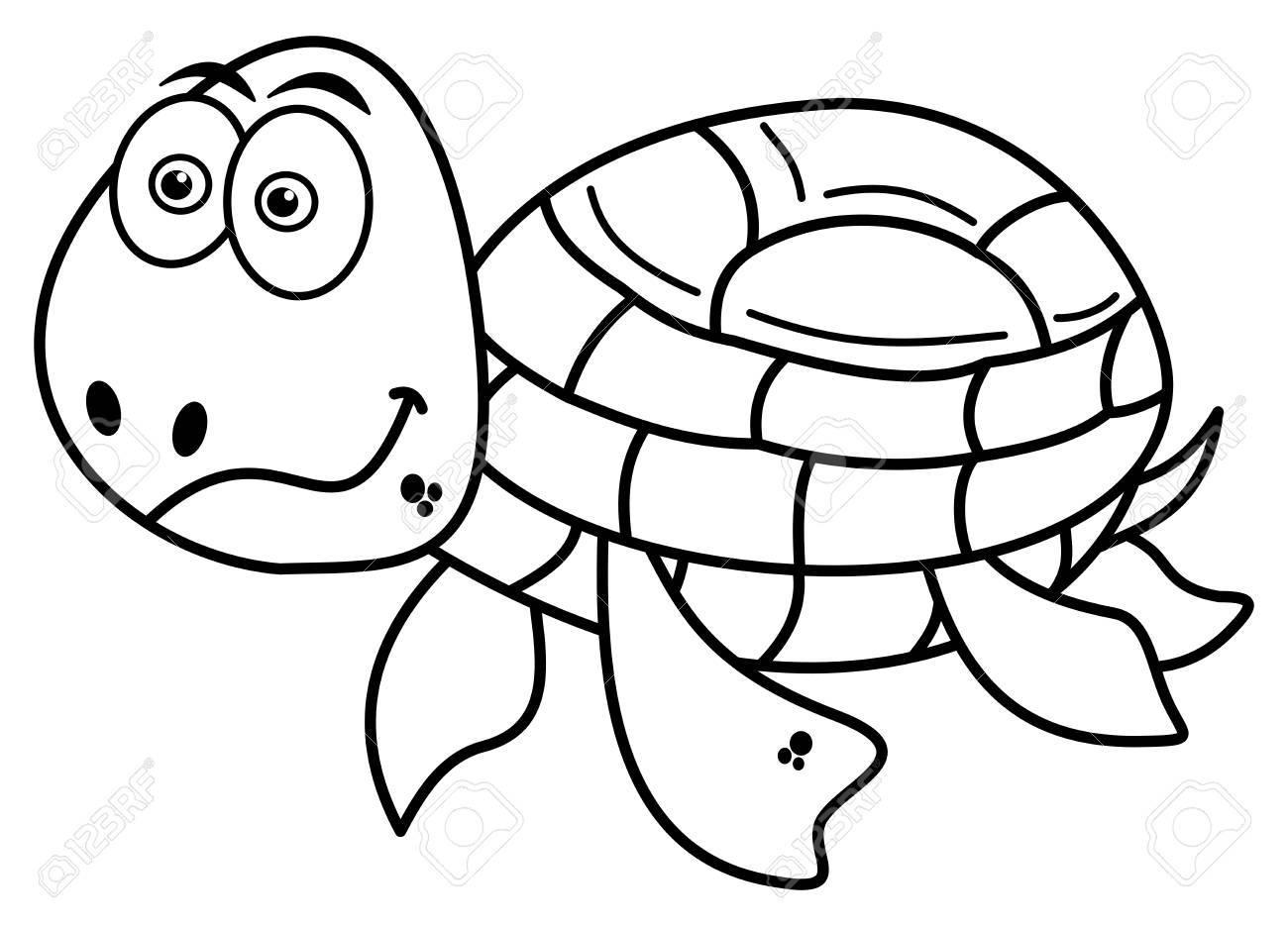 Glücklich Schildkröte Färbung Lizenzfrei Nutzbare Vektorgrafiken ...